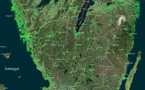 Det gröna på kartan anger stabila områden, medan det som är rött visar att marken rör sig mer