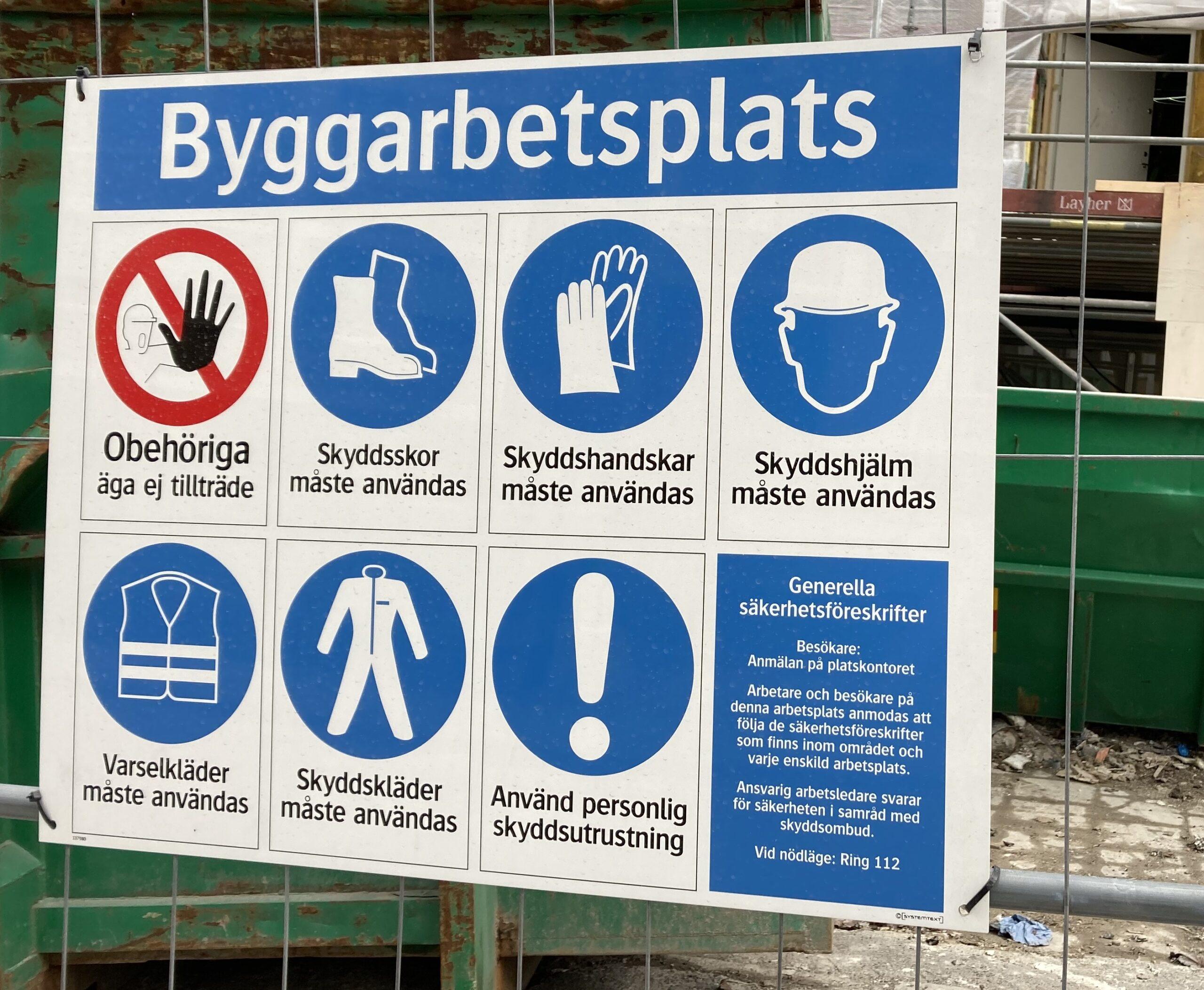 Byggarbetsplats -skylt
